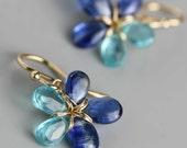 Kyanite and Apatite Flower Earrings . Kyanite Dangle Earrings .