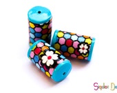 Polymer clay barrel beads - colorful beehive pattern beads - tube beads - multicolored beads (3)