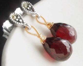 Sweet Little Garnet Drop Earrings with Silver Marcasite Posts