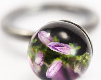 Hether Resin Ring, Oxidized Sterling Silver Ring, Resin Jewellery, heather Jewelry, flower ring