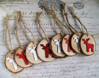 Reindeer natural wood slice Christmas decorations in red & white. Fun, rustic woodland ornaments set of 8