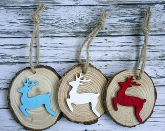 Natural wood slice Christmas decorations with reindeer/stag. 3 modern, fun, rustic woodland ornaments in red/white/teal blue