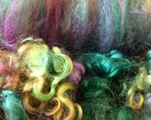 Art Batt with dyed locks green and purple with sparkle 3.5 ounces