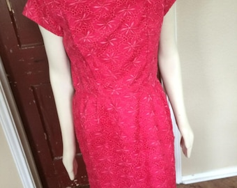Vintage Sixties Sexy Lace Wiggle Dress in Red