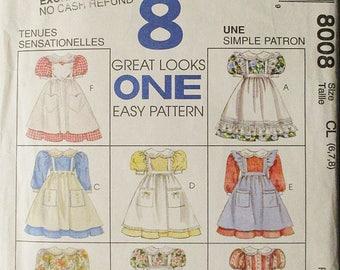 1990s Childs Sewing Pattern McCalls 8008 Girls Dress & Pinafore Pattern Size 6, 7, 8 Uncut