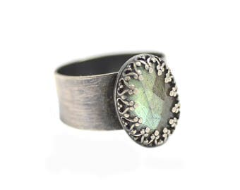 Labradorite and Sterling Silver Ring. Humble Beginnings Ring. Wide Band Sterling Ring Size 8.5. Aurora Borealis Ring. Norhern Lights.