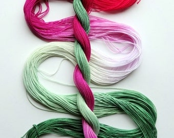 "Size 20 ""Candy Mint"" hand dyed thread 6 cord cordonnet tatting crochet cotton"