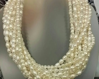 12 Strand Genuine Freshwater Pearl and Crystal Necklace