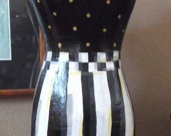 Whimsical  Manniken Mannequin - Black and White  - Handpainted