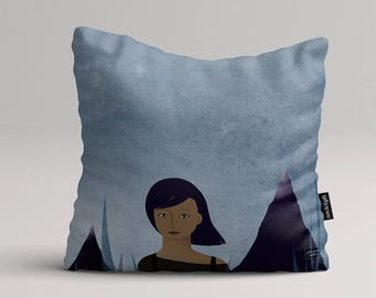 I am a montain - Illustrated throw pillow cover
