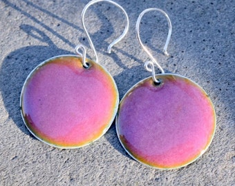 Large Enamel Silver Disc Earrings Pink