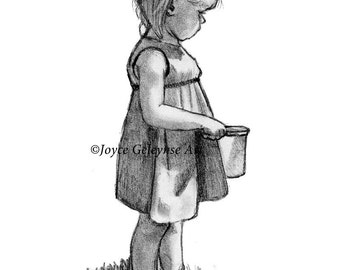 Little Girl with Pail, Tot, Child, Childhood, Original Pencil Drawing Instant Download Print Your Own, Cute Child in Dress, Child in Sun