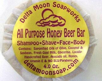 Handmade All Purpose Beer Bar Shampoo/Shave/face/Body Goat Milk Soap Avocado Oil, shaving soap, body soap, shampoo Bar, ready to ship