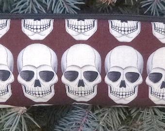 Skulls padded zippered glasses case with d-ring, Robo Skulls, The Spex