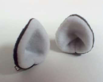 Small Clip on Fleece Ears - Two Color - Cosplay Ears - Custom Colors