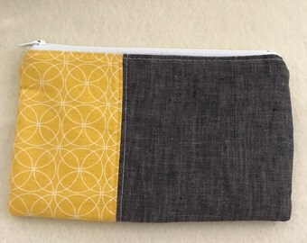Zipper Pouch - Pencil Pouch - grey and yellow