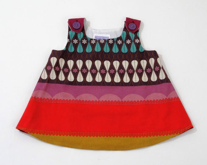 Berry & Purple Op Art Geometric Baby Girls Dress, Baby Dress, Baby Shower Gift, Summer Sundress, Baby Pinafore, Linen Dress, 3 - 6 Months