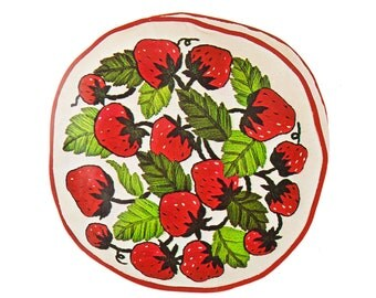 Round Crewel Pillow / Cushion Kit - Vintage Red Strawberry Stamped Fabric Hand Embroidery Pattern w/ Wool Thread