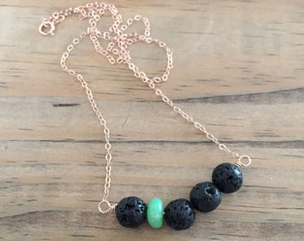 lava bead diffuser necklace for essential oils with chrysoprase gemstone - rose gold filled