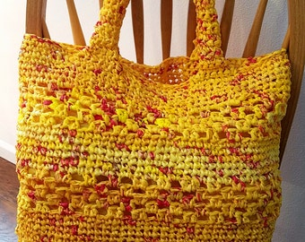 Plarn Tote Bag from Plastic Grocery Bags, Market Bag, Beach Bag