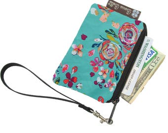 Pixy Roo Small Wristlet - coin purse - credit card purse - Zippered Pouch - Frequent Shopper Card Pouch - Bountiful Teal Fabric
