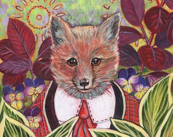 """Archival 6x6 inch Print on Wood """"Fox in Past and Present Gardens"""""""