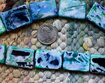 Full Strand of Rectangular Fire Agate Tablet Beads in Blues, Blacks and Greens