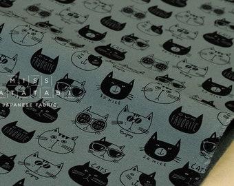 Japanese Fabric Kokka Trefle Our Favorite Cats - green - fat quarter