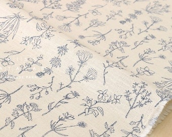 Japanese Fabric Kokka Trefle Natural Life - cream, indigo blue - 50cm