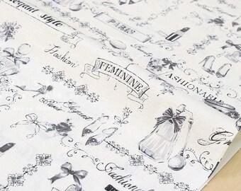 Japanese Fabric Yuwa Perfume - black, white, grey - 50cm