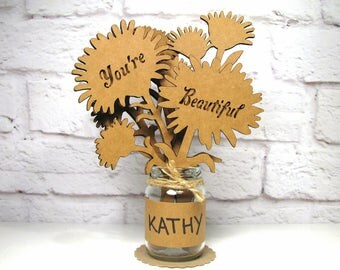 Gift For Her - YOU'RE BEAUTIFUL - Corrugated Cardboard Flowers Bouquet In Mini Mason Jar Great Gift Idea