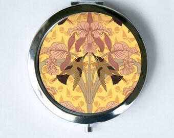 Art Nouveau Humming Bird Orchid Compact Mirror Pocket Mirror design Pattern