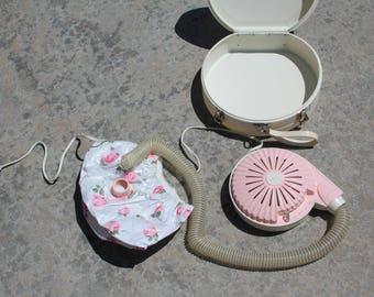 VINTAGE pink general electric HAIR DRYER suitcase