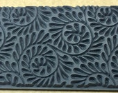 FIDDLEHEAD FERN EMBOSSED Rubber Texture Tile Mat Stamp for Clay inks Paint Soap   TTL240