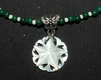 Antique Mother of Pearl Pentagram on Malachite Necklace - pentacle - wicca - witchcraft - pagan