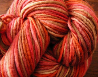 Handpainted Yarn Wool 143yards 2.9oz Worsted Weight Knitting Aspenmoonarts Hand Painted Pink Tan C010B Felting
