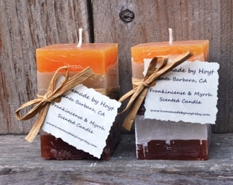 Pair of Frankincense and Myrrh Scented Small Square Pillar Candles