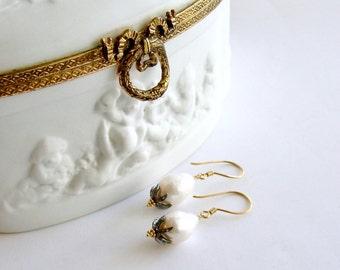 Baroque Flameball Pearls Diamond Bead Cap Earrings - Chantilly II Earrings