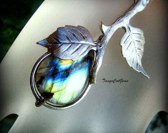 Labradorite Sterling Bud pendant necklace