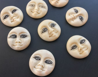25 mm bone buddha moon face cabachon or pendant embroidery jewelry making supply Lori Lochner