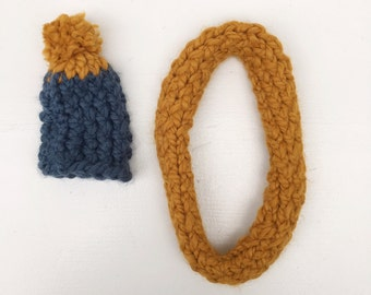 SALE knitted hat and shawl  set orche/blue