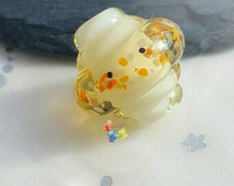 Lampwork Glass Beads Lemon Sunshine Ornate Spinner