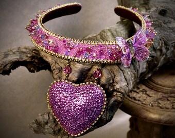 Crystal choker necklace - Heart Choker - Heart Locket - pastel grunge choker - women choker collar - statement chokers - choker for women