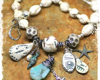 Sea shell statement necklace, Ocean charm necklace for women, Conch shell and turquoise boho short necklace, Handcrafted artisan OOAK