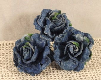 Velvet Roses Blue for Weddings Millinery Fascintators Corsages Boutineers 3 in Bunch 1.75 inches
