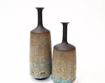 Made To Order- one Large ceramic stoneware bottle vase in blue and gold texture glaze by sarapaloma