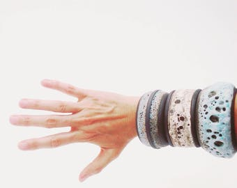 Ships Now- one large blue and black crater cuff bracelet by sarapaloma