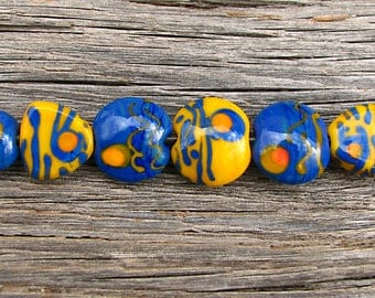 Dreamy Painted Style...9 Handmade Lampwork Blue Yellow Lentil Glass Bead Set With Focal Sra