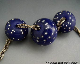 NEW Naos Glass Blue Velvet Mini Set Made To Order Handmade Lampwork Beads SRA Artisan Glass Beads Cobalt Dark Blue Fine Silver Dots
