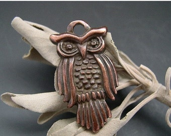 SALE Naos - Greek Owl Pendant Charm Bronze 27mm - Animal Totem Talisman Amulet
